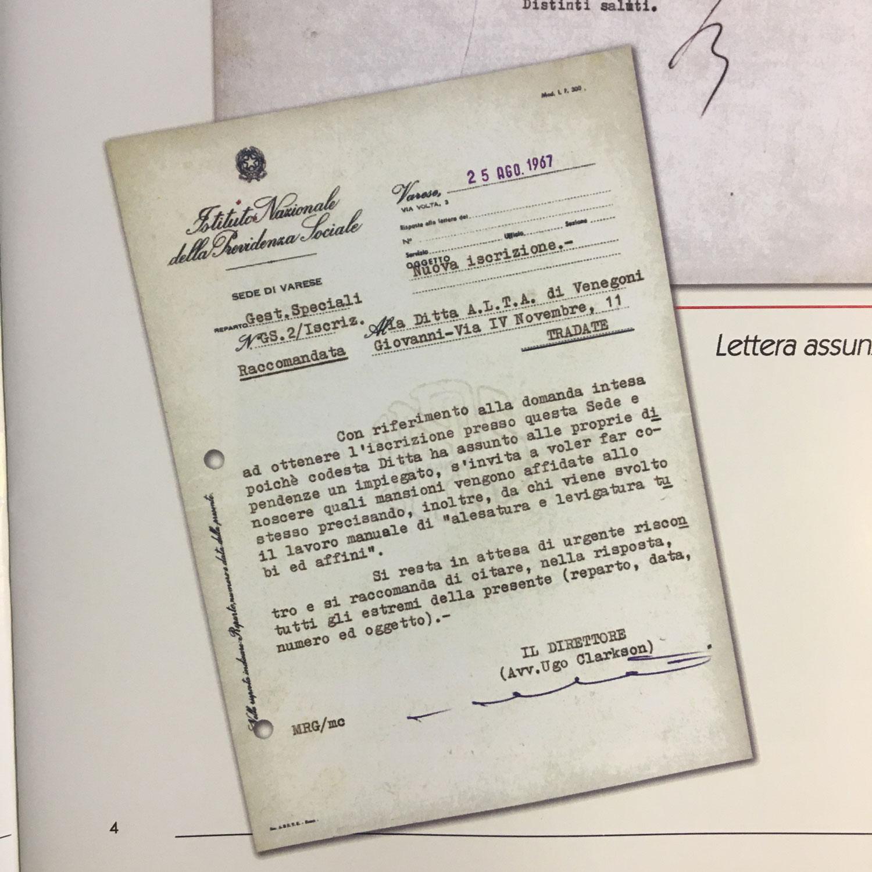 Documento che certifica l'assunzione del primo dipendente ALTA