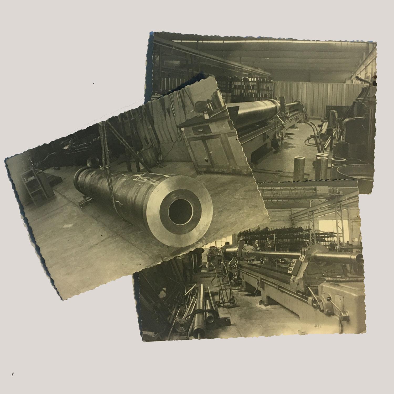 Vecchi foto dei primi mezzi per la lavorazione di tubi levigati della ditta ALTA spa