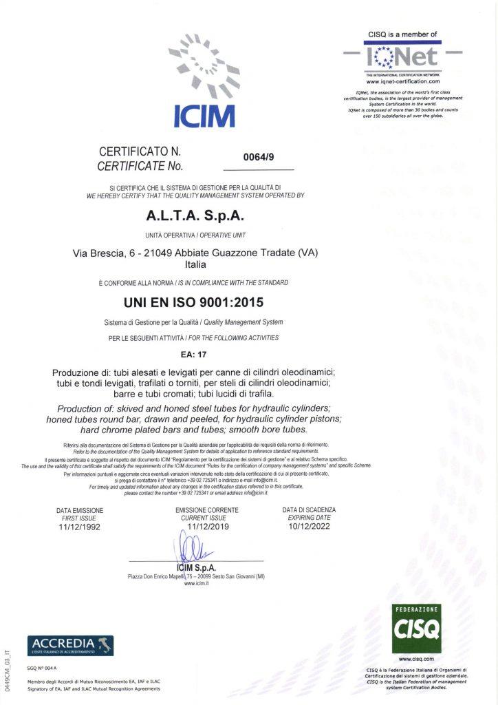 certificate ICIM-2020 UNI EN ISO 9001:2015