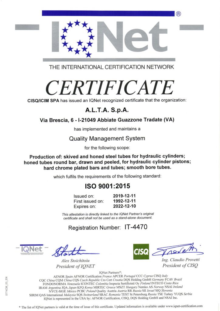 certificate IQ NET ISO 9001:2025