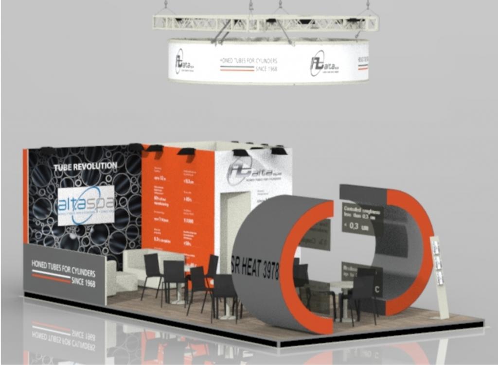 Rendering del nuovo stand ALTA per la fiera di Dusseldorf TUBE 2020
