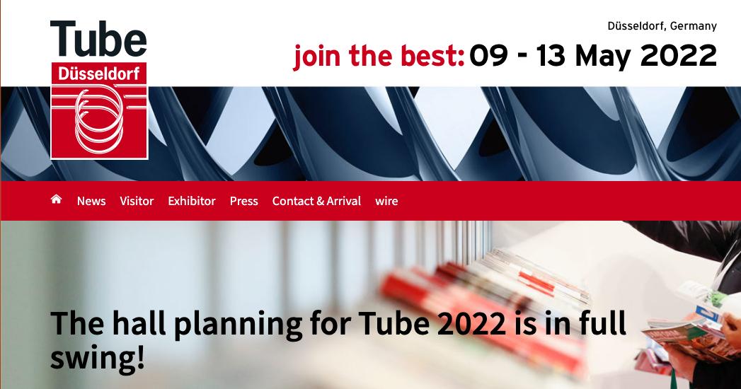 Screenshot of Tube Düsseldorf 2022 website home page
